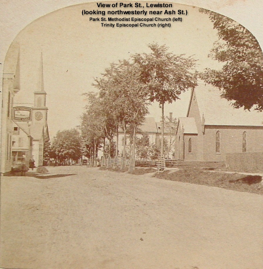 View of Park St., Lewiston looking northwesterly near Ash St.- Park St. Methodist Episcopal Church (left) and Trinity Episcopal Church which was organized in 1854 (right)