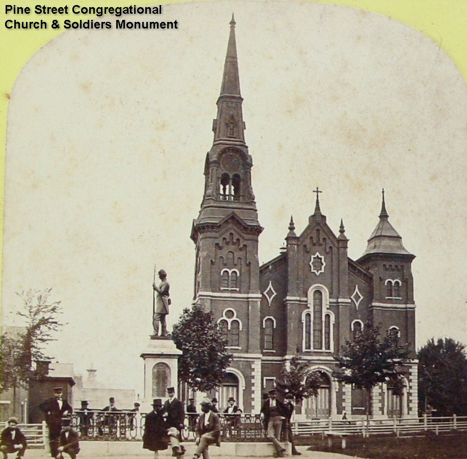 Pine St. Congregational Church, Lewiston & Soldiers Monument