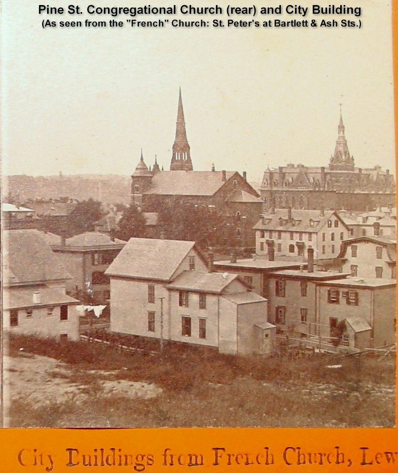 City Building and rear of Pine St. Congregational Church as seen from French Church (St. Peter's - Bartlett & Ash), Lewiston