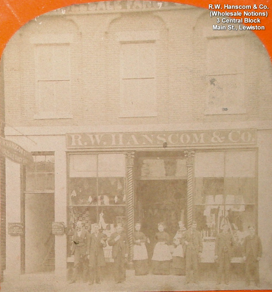 R.W. Hanscom & Co. (employees in front of store) Wholesale Notions, 3 Central Block, Main St., Lewiston