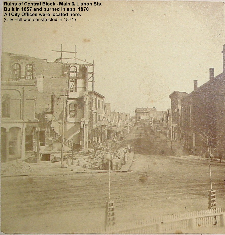 Ruins of Central Block from fire. Located at  Main and Lisbon Sts. Built in 1857 and burned in app. 1870