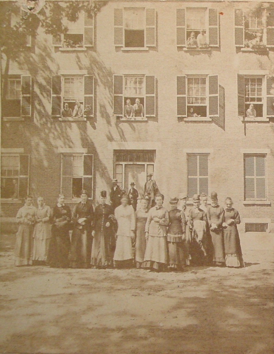 Group of women in front of building