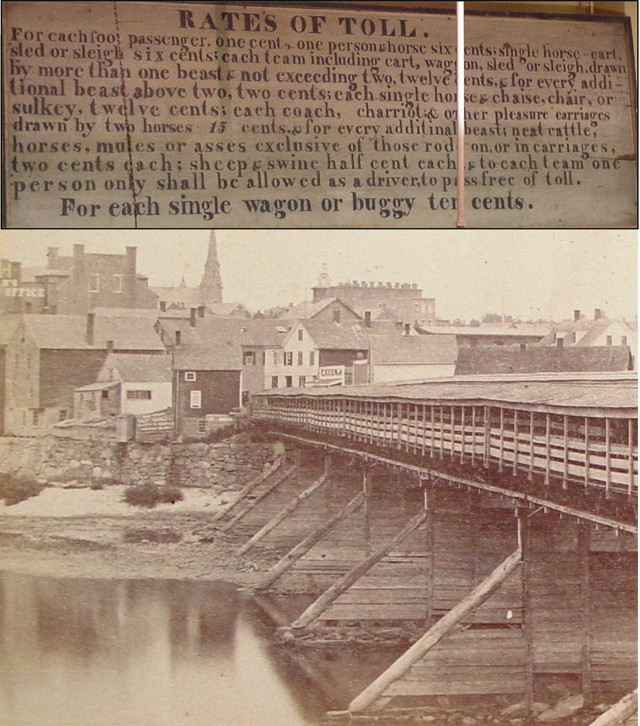 View of the wooden (toll) North Bridge taken in app. 1871, looking from Auburn into Lewiston. This bridge had high walls, a divider down the middle, and separated covered walkways running along each side.