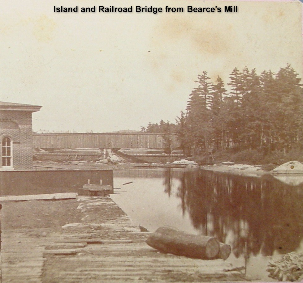 Island and Railroad Bridge from Bearce's Mill
