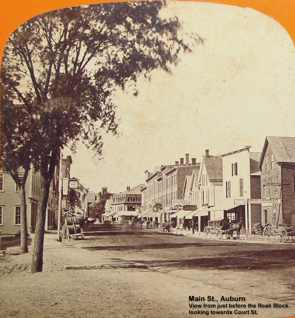 Main St. Auburn - View from just before the Roak Block looking towards Court St.