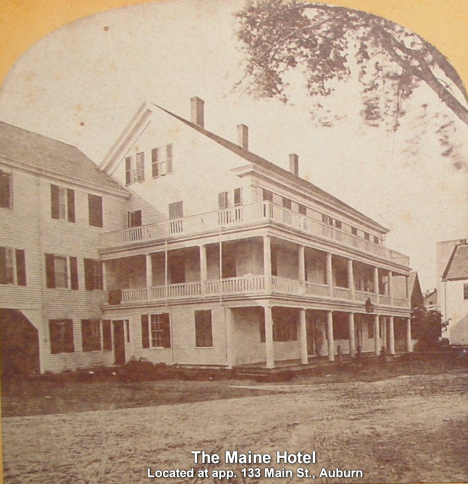 Maine Hotel, located at app. 133 Main St. Auburn - Was also referred to as the Cortland Hotel