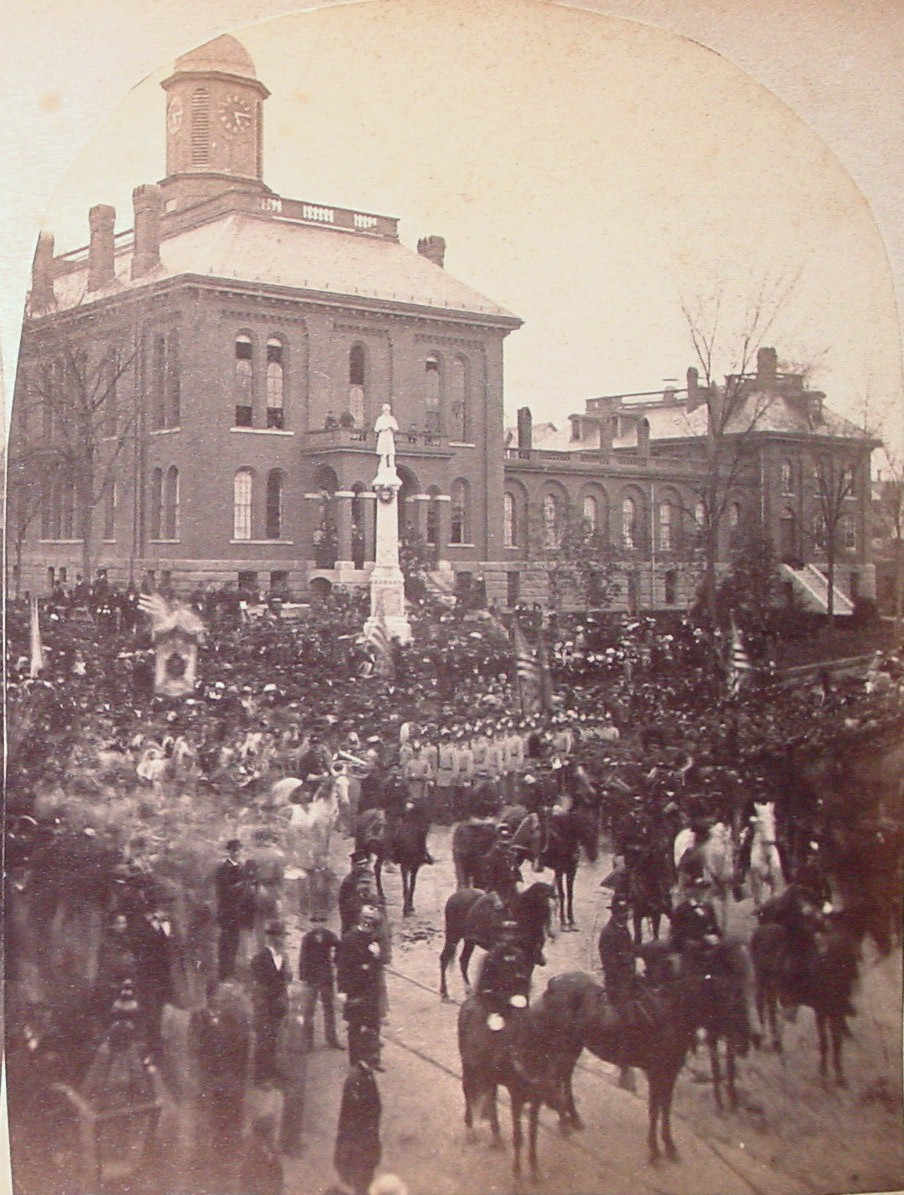 Celebration in front of County courthouse and jail building, Auburn