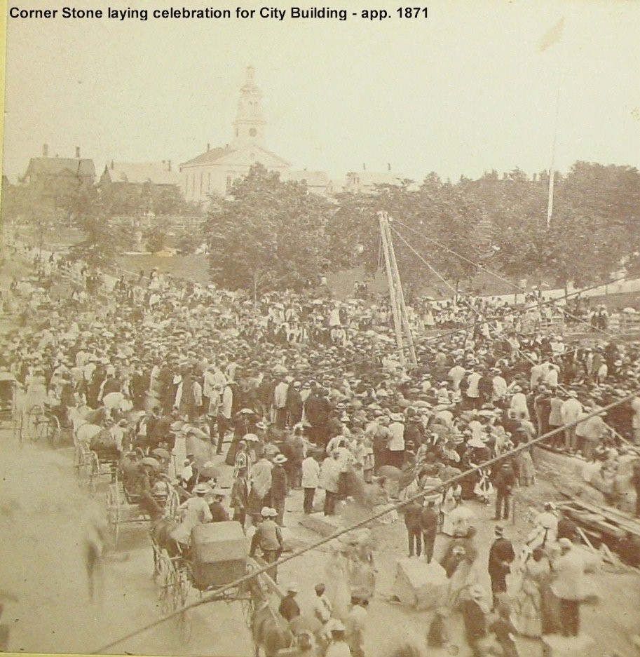 Corner stone laying celebration of new City Building app. 1871