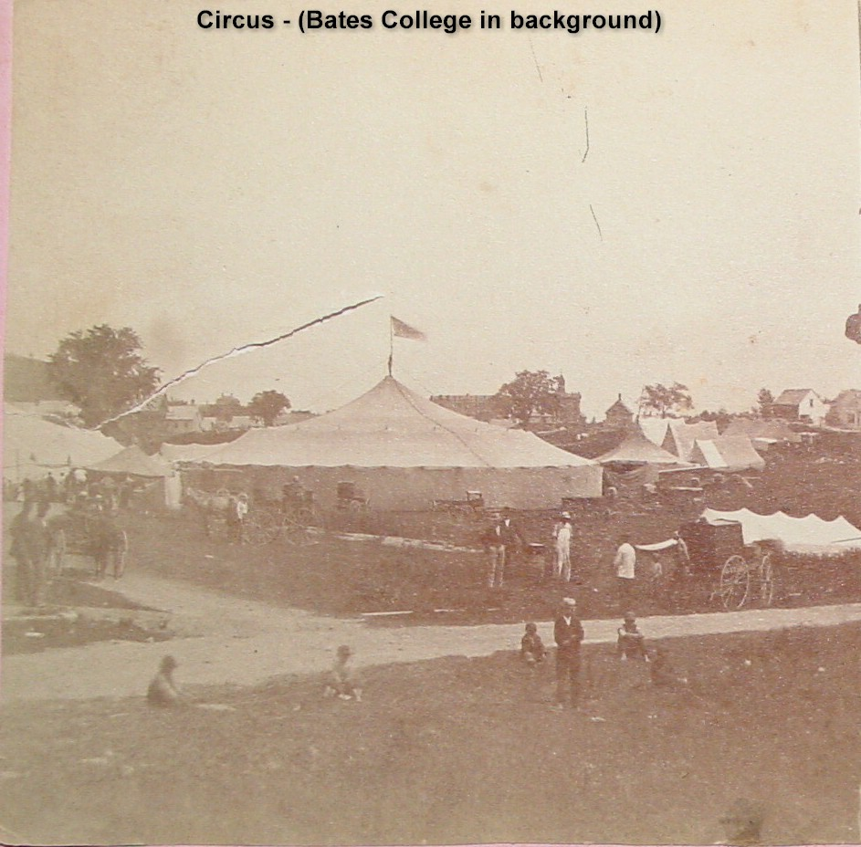 Circus, Bates College & Mt. David Davis (left) in distance (Circus Grounds were poss. in vicinity of Central Ave. & Vale Sts.)