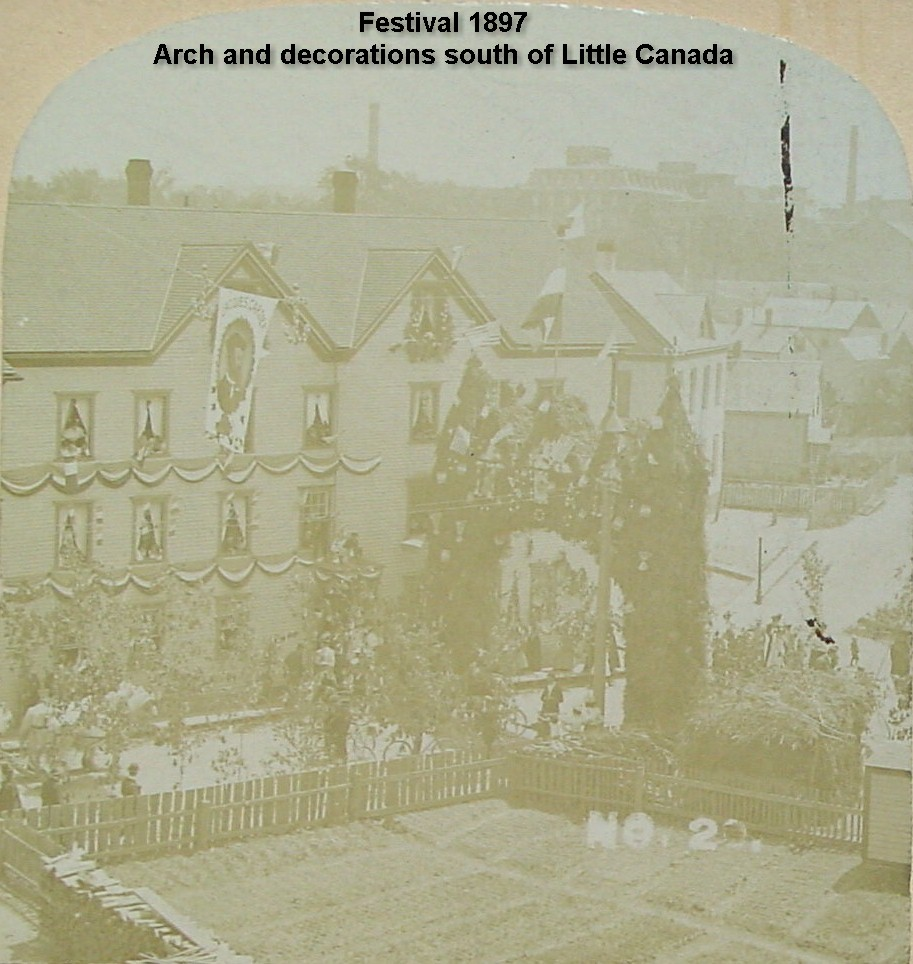 Festival 1897 - Arch and decorations south of Little Canada